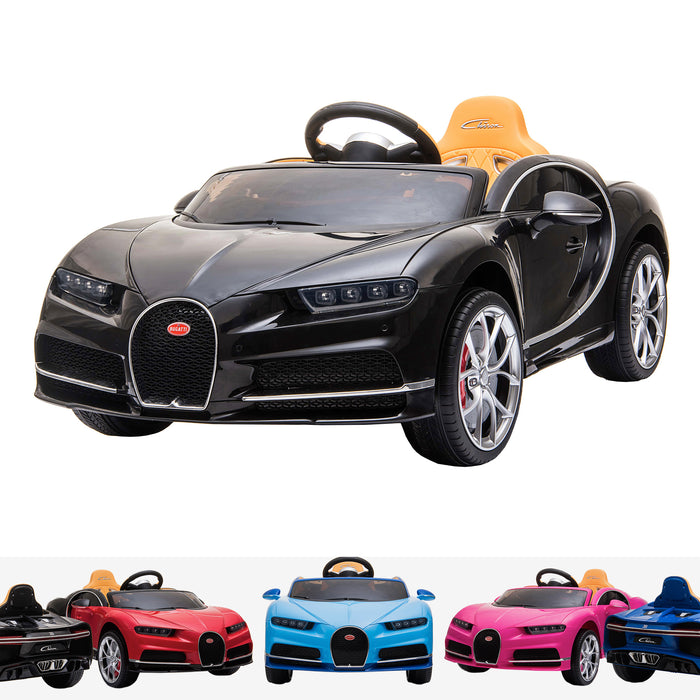 kids bugatti chiron licensed electric ride on car black buggati 12v 2wd blue white
