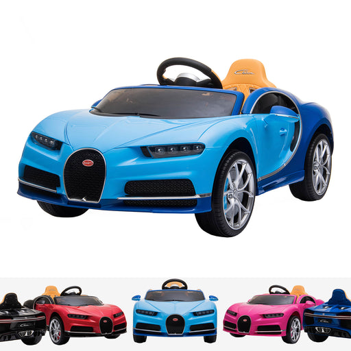 kids bugatti chiron licensed electric ride on car blue 12v