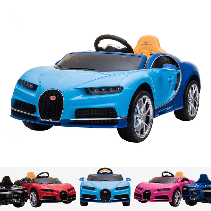 kids bugatti chiron licensed electric ride on car blue buggati 12v 2wd blue white