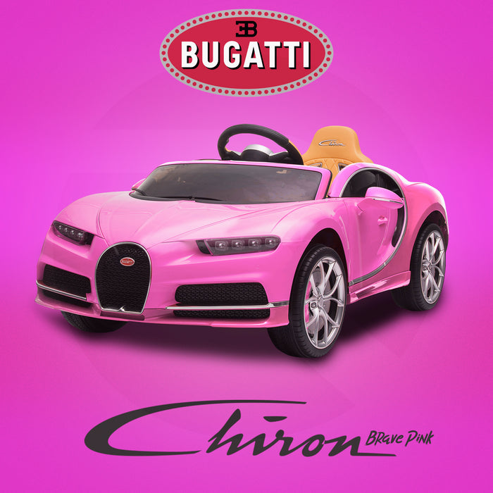 kids bugatti chiron licensed electric ride on car brave pink buggati 12v 2wd blue white
