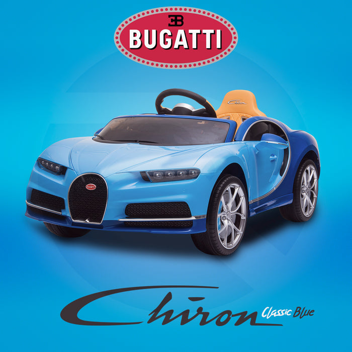 kids bugatti chiron licensed electric ride on car classic blue buggati 12v 2wd black