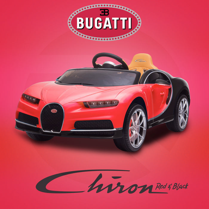 kids bugatti chiron licensed electric ride on car red black buggati 12v 2wd black
