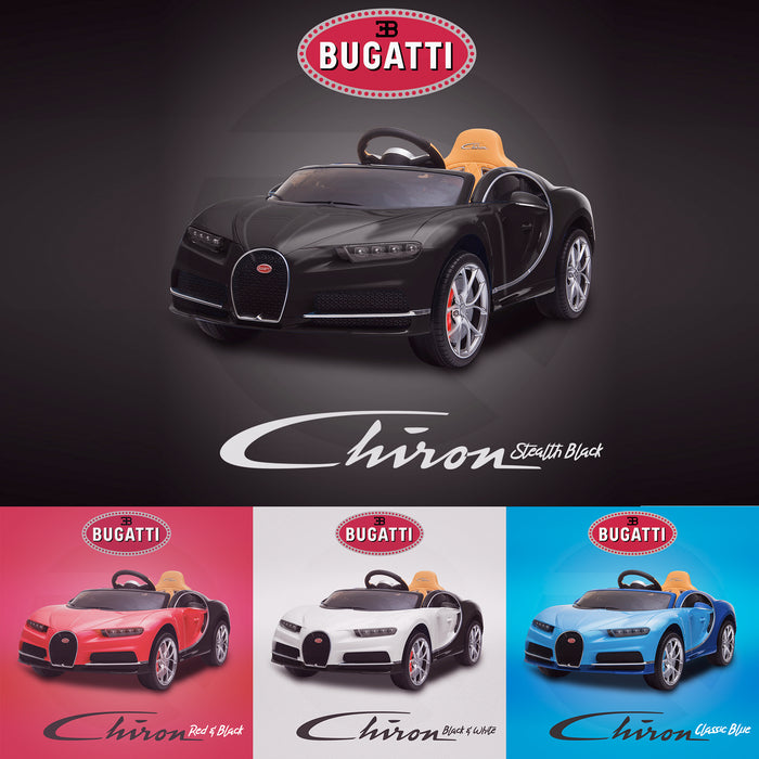 kids bugatti chiron licensed electric ride on car stealth black 2 buggati 12v 2wd blue white