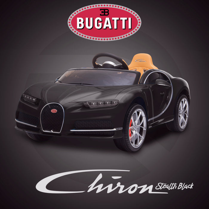 kids bugatti chiron licensed electric ride on car stealth black buggati 12v 2wd blue white