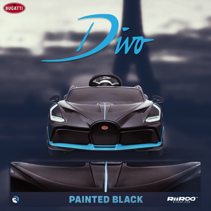 kids bugatti divo licensed ride on electric car supercar with parental remote control lifestyle black buggati 12v 2wd painted black