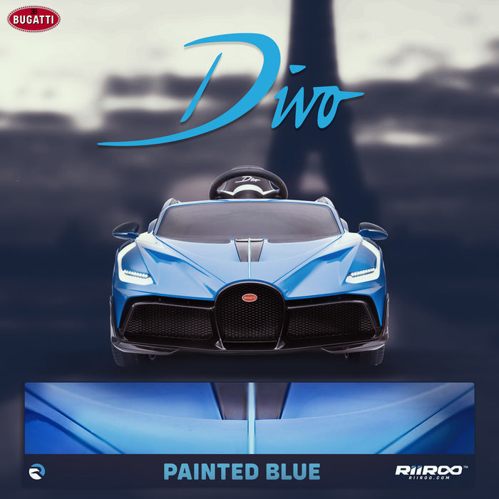 kids bugatti divo licensed ride on electric car supercar with parental remote control lifestyle blue 12v