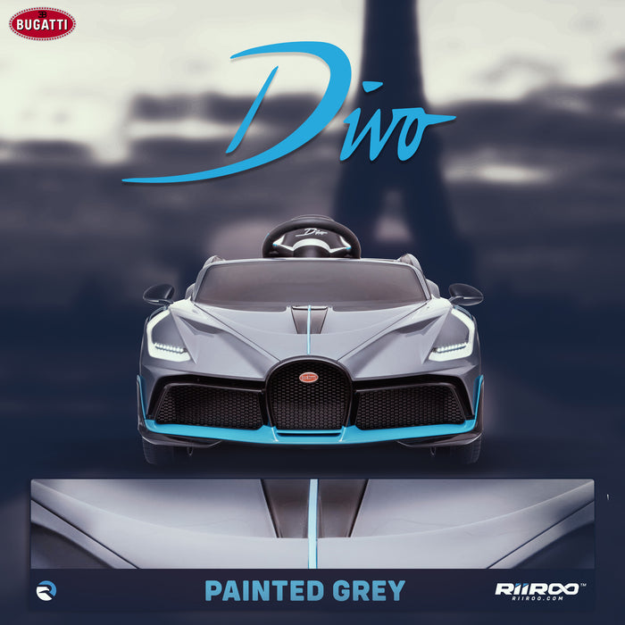 kids bugatti divo licensed ride on electric car supercar with parental remote control lifestyle grey buggati 12v 2wd painted grey