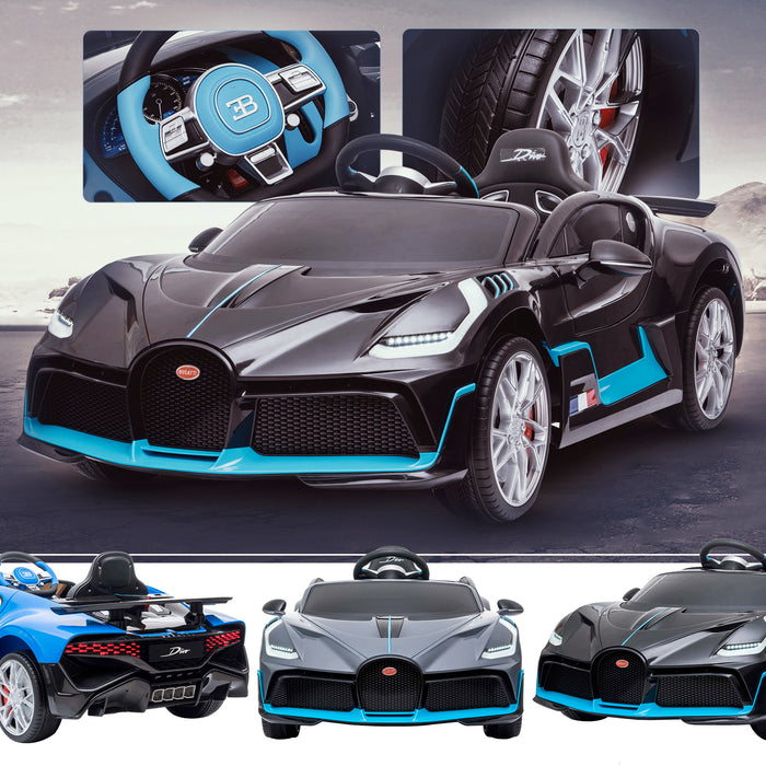 kids bugatti divo licensed ride on electric car supercar with parental remote control main black buggati 12v 2wd painted black
