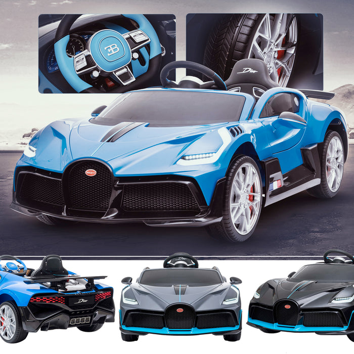 kids bugatti divo licensed ride on electric car supercar with parental remote control main blue buggati 12v 2wd painted grey