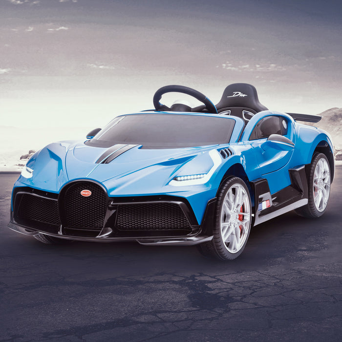 kids bugatti divo licensed ride on electric car supercar with parental remote control main clean blue 12v