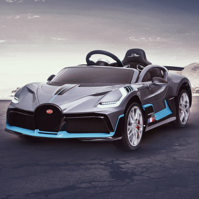 kids bugatti divo licensed ride on electric car supercar with parental remote control main clean gray 12v