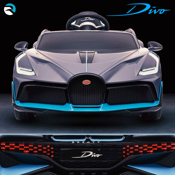 kids bugatti divo licensed ride on electric car supercar with parental remote control main front direct 12v