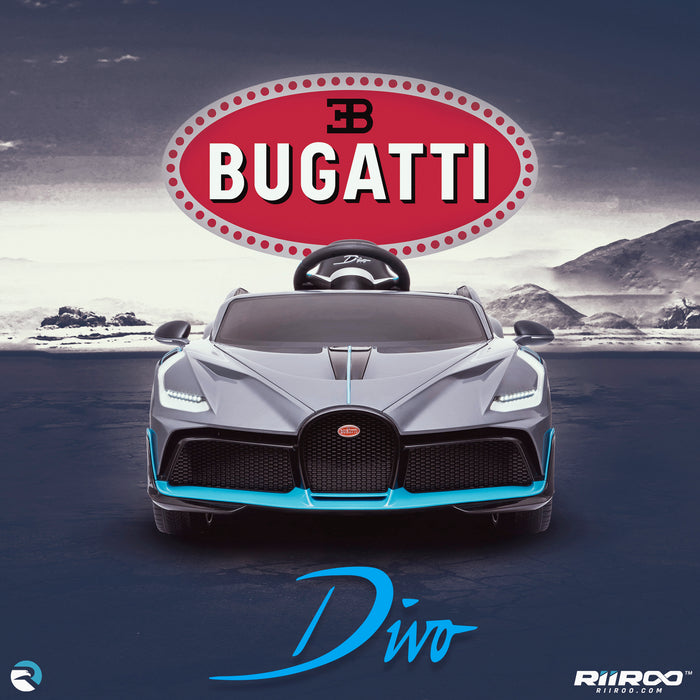 kids bugatti divo licensed ride on electric car supercar with parental remote control main front lifestyle buggati 12v 2wd painted grey