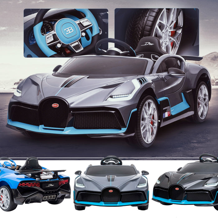kids bugatti divo licensed ride on electric car supercar with parental remote control main gray buggati 12v 2wd painted black