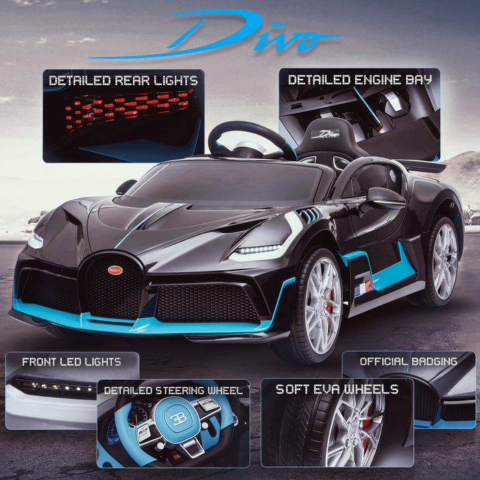 kids bugatti divo licensed ride on electric car supercar with parental remote control main promo black 12v