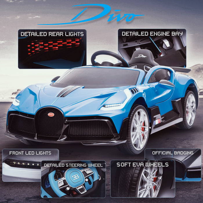 kids bugatti divo licensed ride on electric car supercar with parental remote control main promo blue 12v