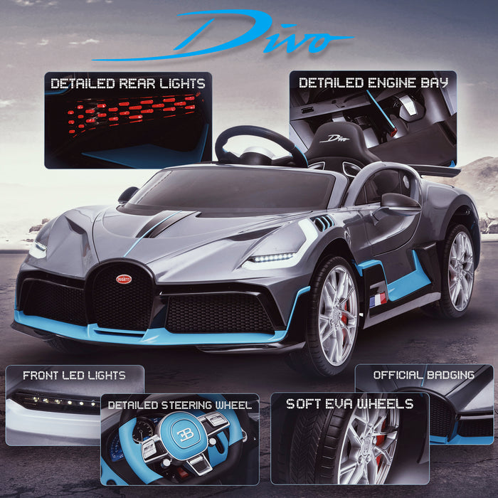 kids bugatti divo licensed ride on electric car supercar with parental remote control main promo gray 12v