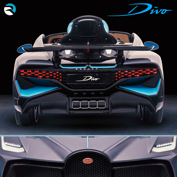 kids bugatti divo licensed ride on electric car supercar with parental remote control main rear direct buggati 12v 2wd painted black