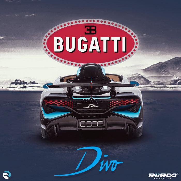kids bugatti divo licensed ride on electric car supercar with parental remote control main rear lifestyle buggati 12v 2wd painted black