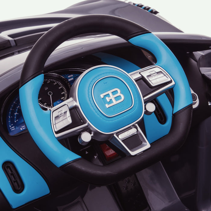 kids bugatti divo licensed ride on electric car supercar with parental remote control steering close up buggati 12v 2wd painted black
