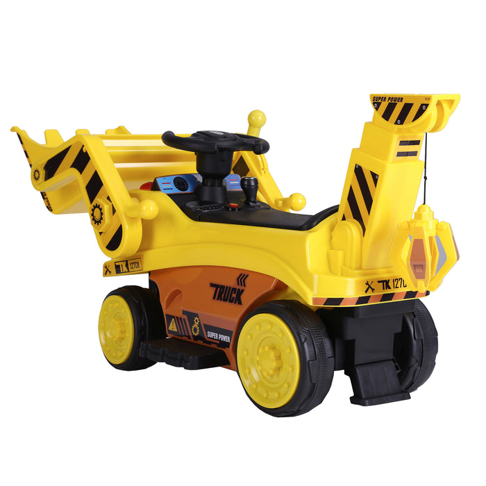 kids digger truck electric ride on truck 4 riiroo 6v construction