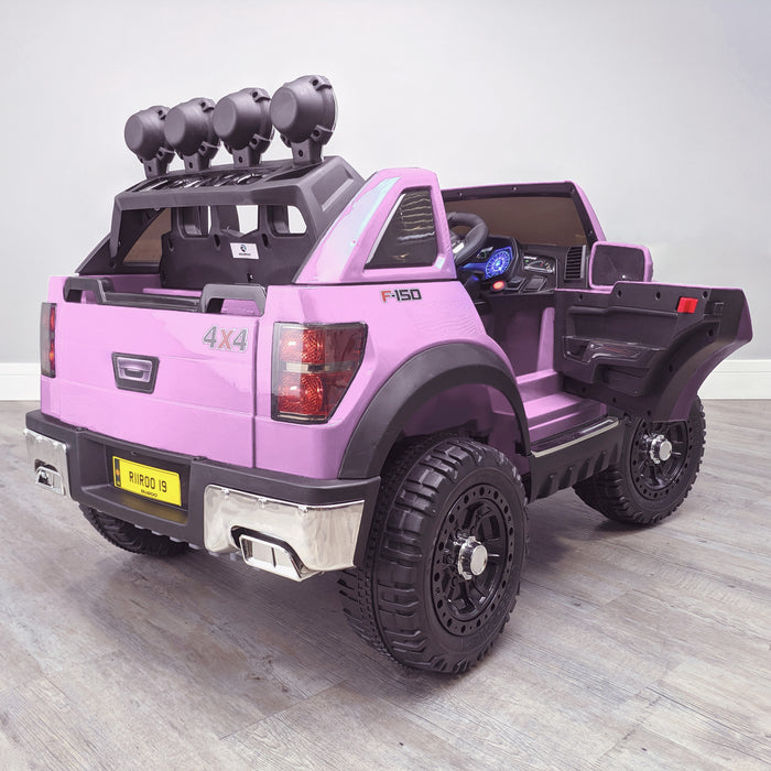 kids electric ride on car ford ranger wildtrak style battery operated pick up truck car jeep with parental remote control 12v v2 rear persp doors open pink in 2wd