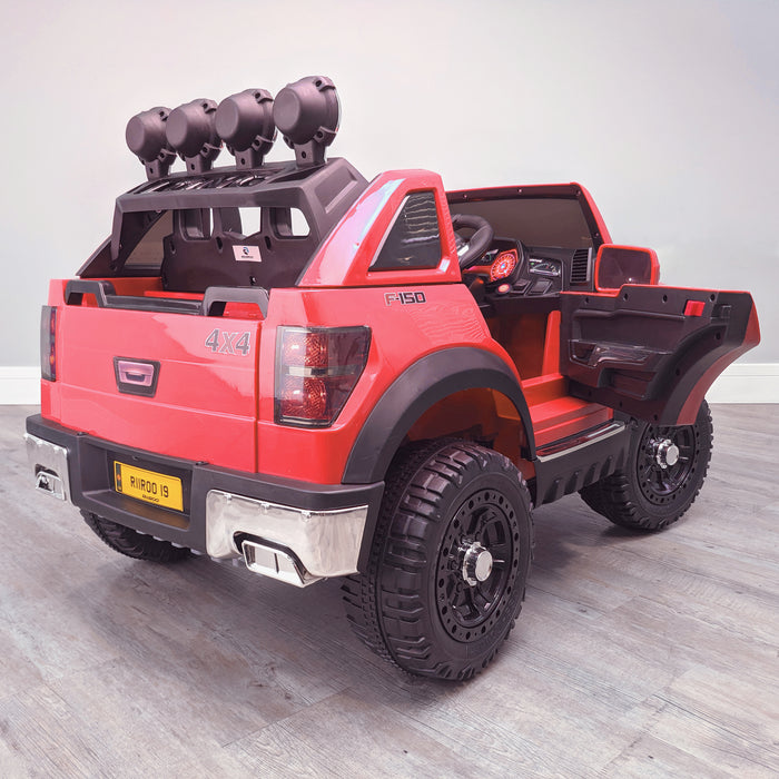 kids electric ride on car ford ranger wildtrak style battery operated pick up truck car jeep with parental remote control 12v v2 rear persp doors open red wildtrack 2wd