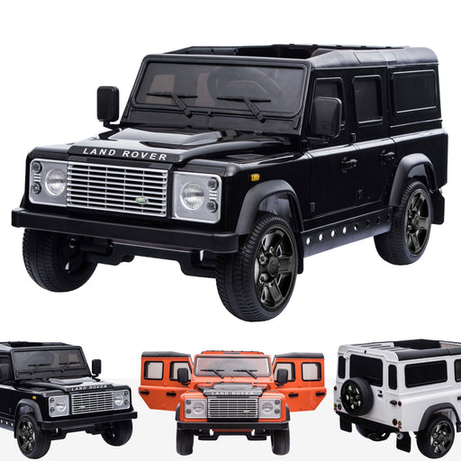 kids electric ride on car licensed land rover defender battery operated car jeep with parental remote control 12v black black alloys Black