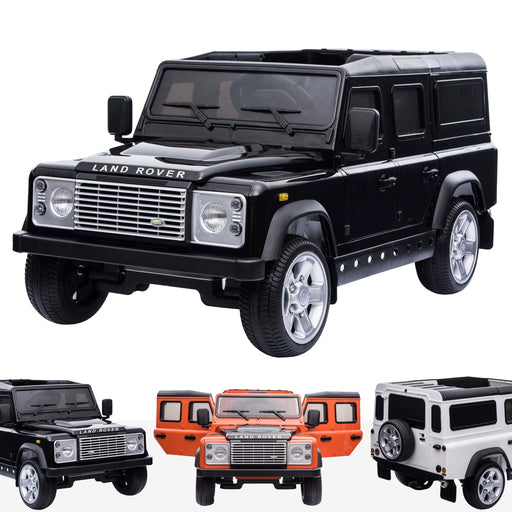 kids electric ride on car licensed land rover defender battery operated car jeep with parental remote control 12v black black