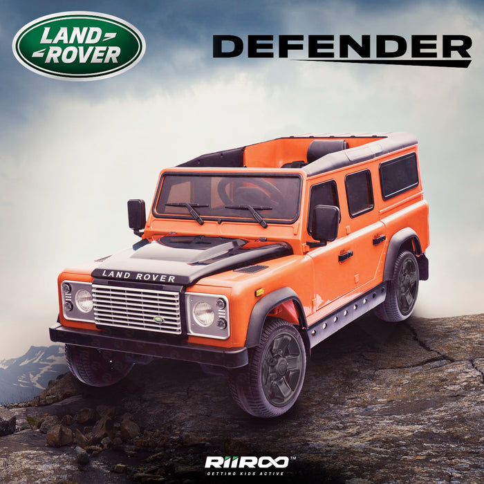 kids electric ride on car licensed land rover defender battery operated car jeep with parental remote control 12v life style black rims orange