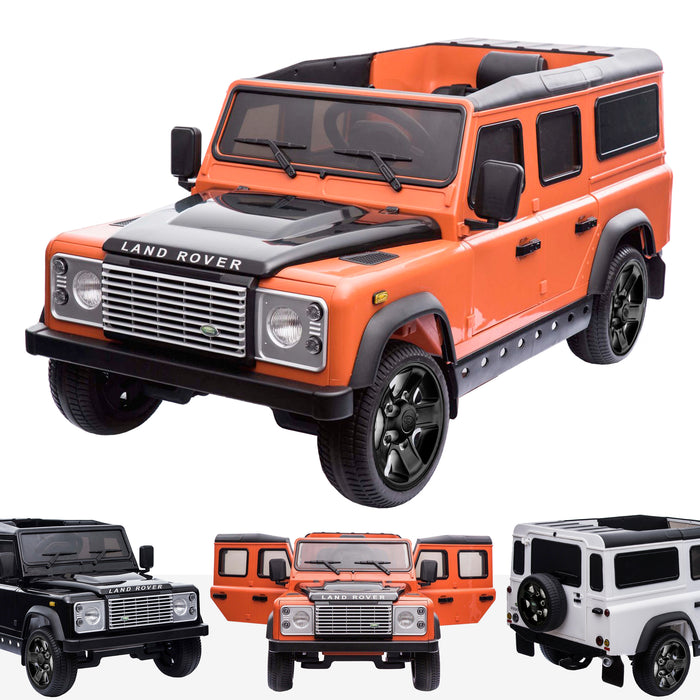 kids electric ride on car licensed land rover defender battery operated car jeep with parental remote control 12v orange black alloys