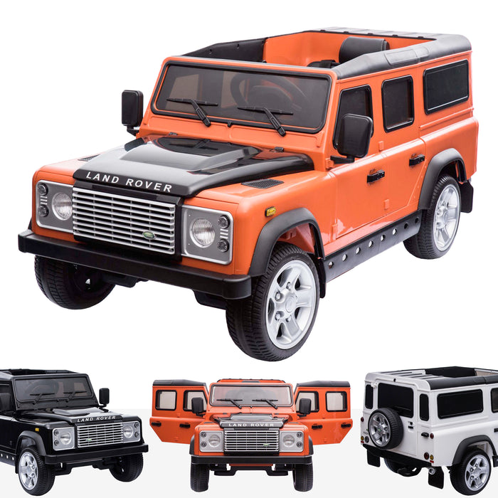 kids electric ride on car licensed land rover defender battery operated car jeep with parental remote control 12v orange Orange