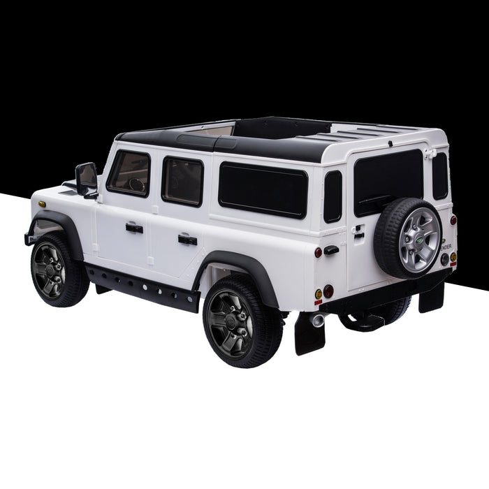 kids electric ride on car licensed land rover defender battery operated car jeep with parental remote control 12v rear perspective black alloys