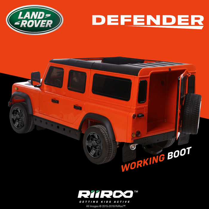 kids electric ride on car licensed land rover defender battery operated car jeep with parental remote control 12v rear perspective working boot black alloys