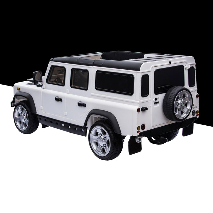 kids electric ride on car licensed land rover defender battery operated car jeep with parental remote control 12v rear perspective