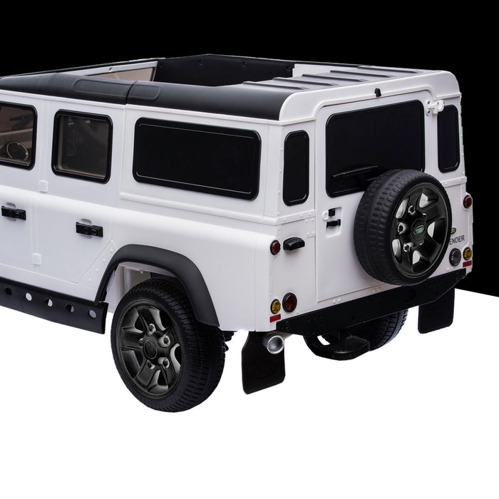 kids electric ride on car licensed land rover defender battery operated car jeep with parental remote control 12v rear prespective close up black alloys