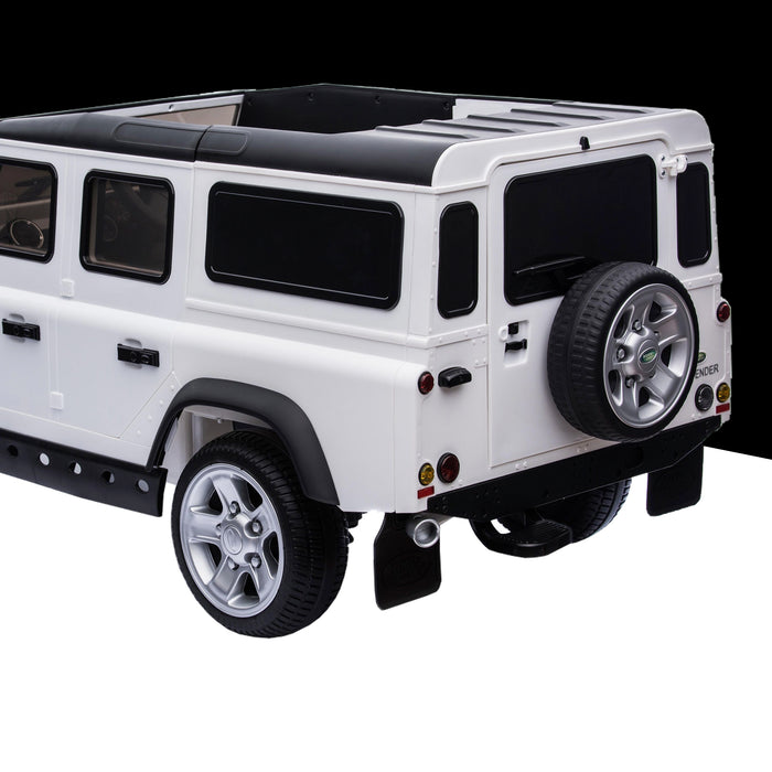 kids electric ride on car licensed land rover defender battery operated car jeep with parental remote control 12v rear prespective close up