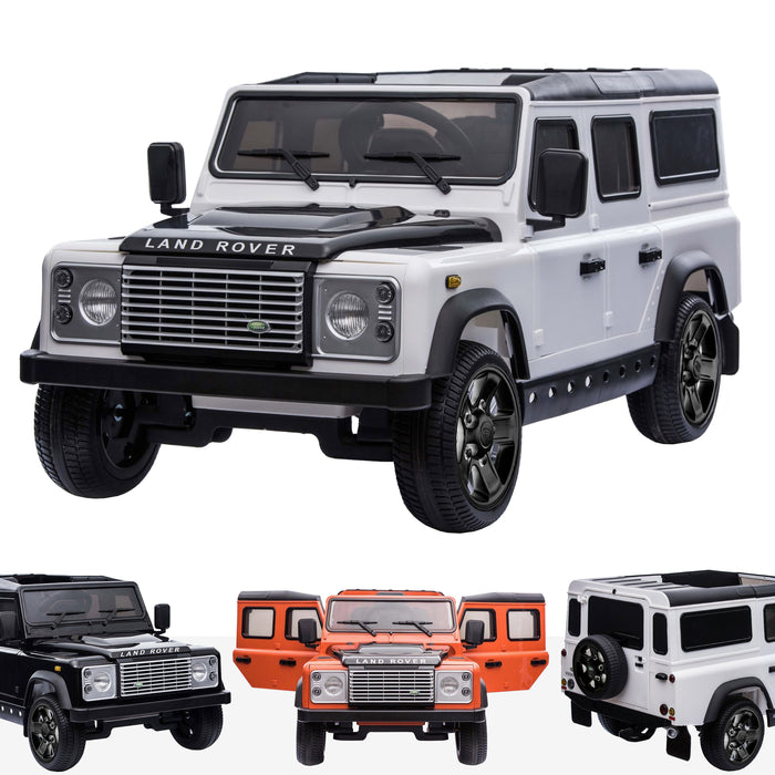 kids electric ride on car licensed land rover defender battery operated car jeep with parental remote control 12v white black alloys White