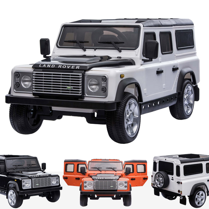 kids electric ride on car licensed land rover defender battery operated car jeep with parental remote control 12v white