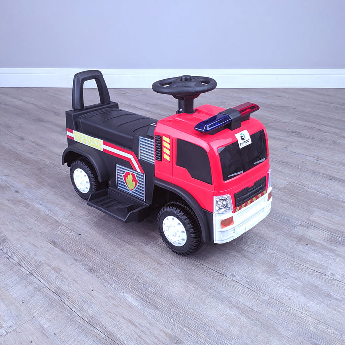 kids electric ride on fire rescue truck 6v battery operated ride on car truck toy front perspective right top riiroo engine