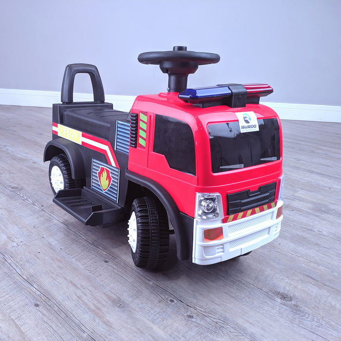 kids electric ride on fire rescue truck 6v battery operated ride on car truck toy front right perspective riiroo engine