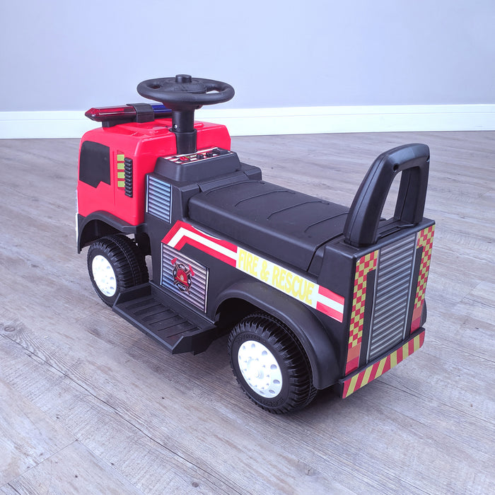 kids electric ride on fire rescue truck 6v battery operated ride on car truck toy rear left perspective riiroo engine