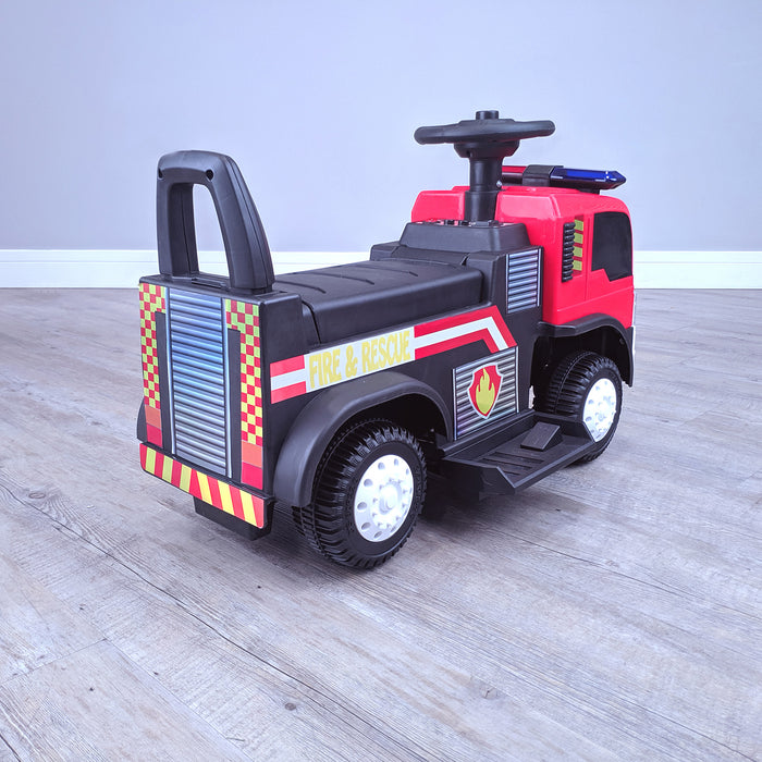kids electric ride on fire rescue truck 6v battery operated ride on car truck toy rear perspective right riiroo engine