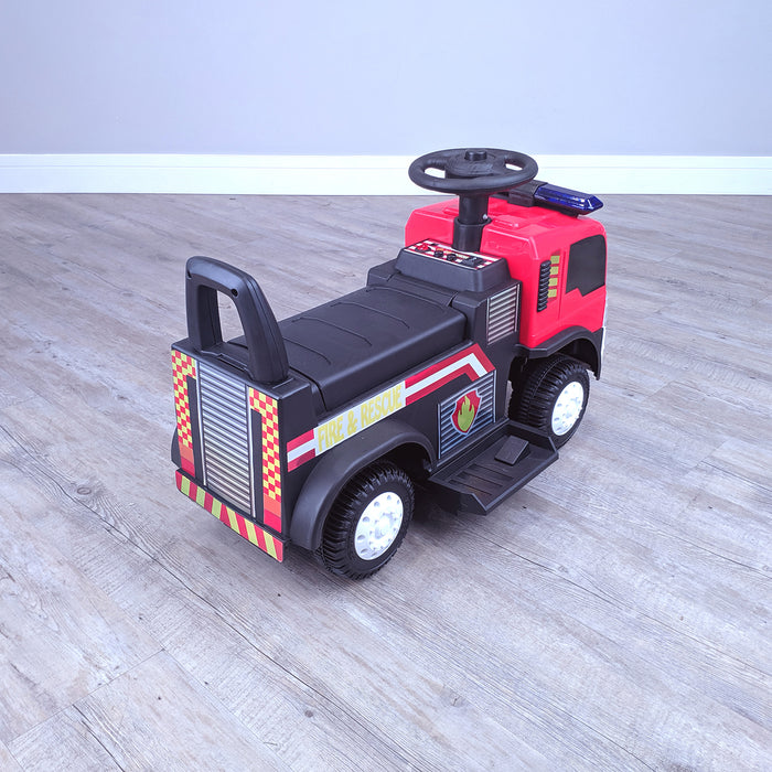 kids electric ride on fire rescue truck 6v battery operated ride on car truck toy rear perspective right top riiroo engine