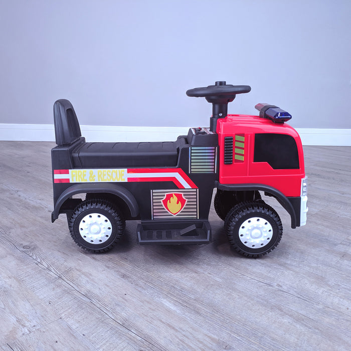 kids electric ride on fire rescue truck 6v battery operated ride on car truck toy side view riiroo engine