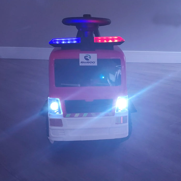 kids electric ride on fire rescue truck 6v battery operated ride on car truck toy siren riiroo engine