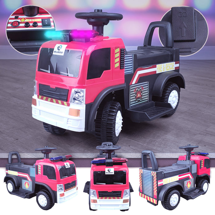 kids electric ride on fire rescue truck 6v battery operated ride on car truck toy riiroo engine