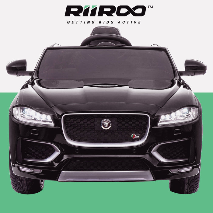 kids electric ride on jaguar f pace licensed battery operated car with parental remote control 12v front 2 black