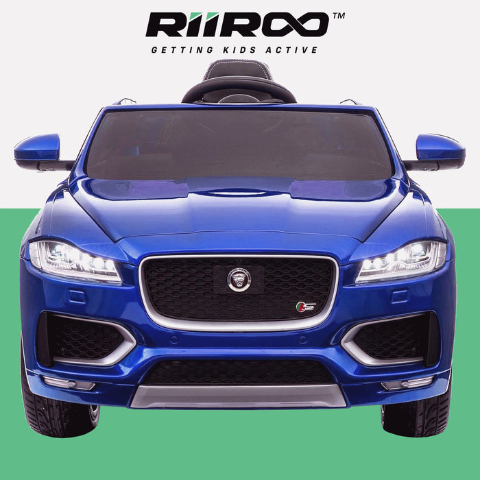 kids electric ride on jaguar f pace licensed battery operated car with parental remote control 12v front 2 blue