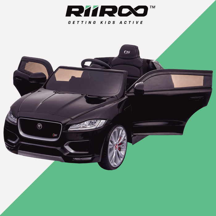 kids electric ride on jaguar f pace licensed battery operated car with parental remote control 12v front perspective doors open